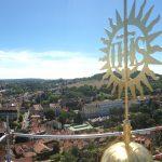 Bekrönung Dachreiter mit Blick über Bamberg